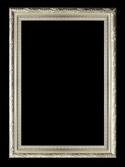 silver wood sculpture picture frame  isolated.