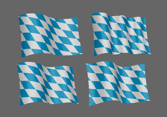 Bavarian official flag, symbol, banner, element. Oktoberfest checkered background with blue and white rhombus. Correct colors. Flag of Bavaria waving on white background, vector illustration