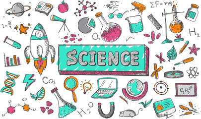 Science chemistry physics biology and astronomy education subject doodle icon. Doodle for presentation title or school education promotion in fundamental science concept, create by vector