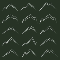Hand Drawn Chalk Mountain Silhouette Set. Isolated on Black Background.