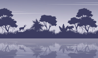 Collection jungle scenery with tree silhouettes
