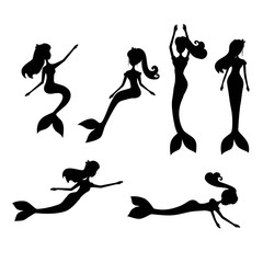 Cartoon mermaids silhouette