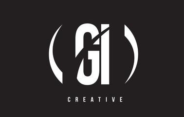 GI G I White Letter Logo Design with Black Background.