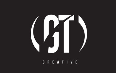 GT G T White Letter Logo Design with Black Background.