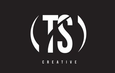 TS T S White Letter Logo Design with Black Background.
