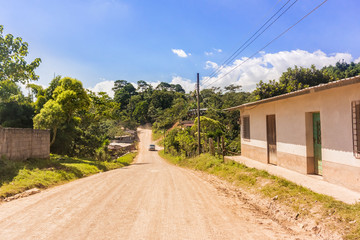 Countryside road in mountains area in Honduras