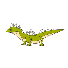 Colorful vector illustration of a cartoon green smiling lizard