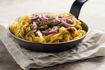 Tagliatelle pasta with chicken