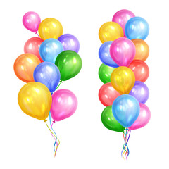 Bunches of colorful helium balloons isolated on white background. Party decorations for birthday, anniversary, celebration. Vector illustration.