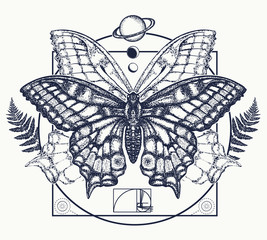 Butterfly tattoo art. Symbol of magic, renaissance, esoterics, travel, soul. Butterfly in mystical circle t-shirt design