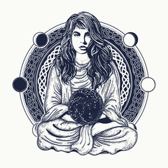 Woman meditation tattoo art. Girl in lotus pose. Symbol meditation, philosophy, astrology, magic, yoga. Meditating woman and crystal sphere t-shirt design