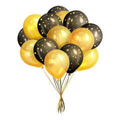Bunch of realistic black and gold helium balloons isolated on white background. Party decorations for birthday, anniversary, celebration. Vector illustration.