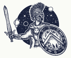 Spartan warrior holding sword and shield tattoo art. Legionary of ancient Rome. Symbol of bravery, force, army, hero. Spartan warrior t-shirt design