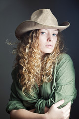 Woman in a cowboy hat