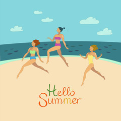 Three Girls In Bikini Having Fun, Part Of Friends In Summer On The Beach Vector Illustrations