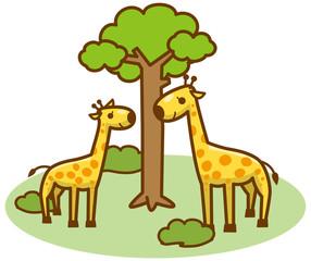 キリンと草原