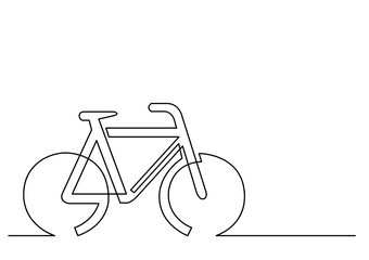 continuous line drawing of bicycle sign