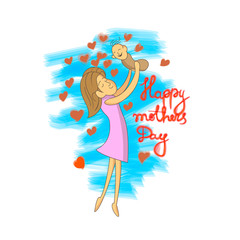 Vector illustration of mother and daughter.
