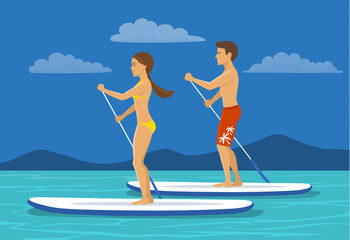 Couple, Man and woman do stand up paddling on water.