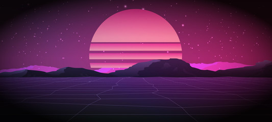 80s Retro Sci-Fi Background with Sunrise or Sunset. Vector futuristic synth retro wave illustration in 1980s posters style.  Vector Illustation,