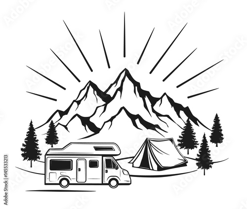 Campsite With Camper Caravan Tent Rocky Mountains Pine Forest Family Vacation Outdoor