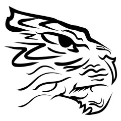 stylized image tiger head Vector illustration.