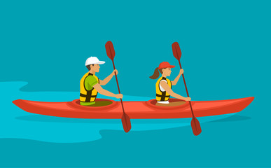 Couple Paddling in double Kayak on water