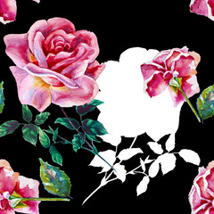 Flowers rose with leaves, seampless pattern