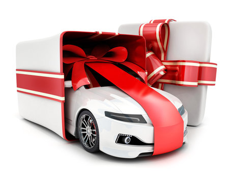 Car gift in box and ribbon