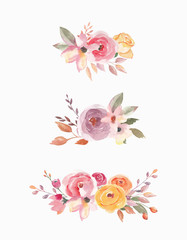 Watercolor composition set. Floral elements