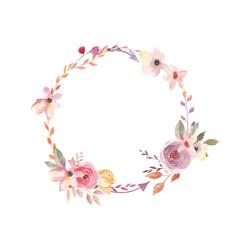 Watercolor wreath. Floral design