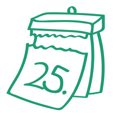 Handgezeichneter Kalender - Tag 25 in grün