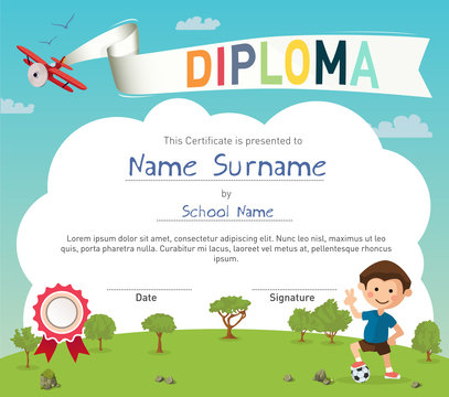 Colorful kids summer camp diploma certificate template in cartoon style with boy and a soccer ball