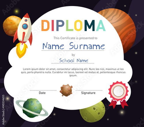 Science themed children diploma certificate template with rocket science themed children diploma certificate template with rocket and cute planets yelopaper Images