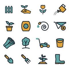 Vector flat gardening icons set
