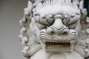 Chinese stone lion statue architecture guardian in chaina culture