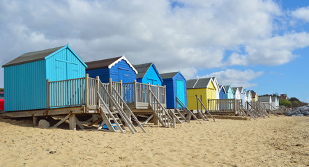 Colourful Beach Huts on Felixstowe Beach