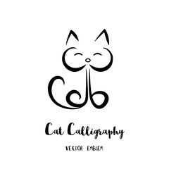Vector Cat Calligraphy Emblem