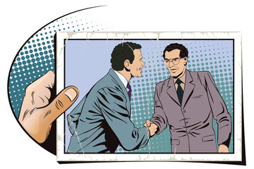 Two business man shaking hands. Stock illustration.