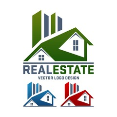 Real Estate Vector Logo Design, Simple Home and Building Template