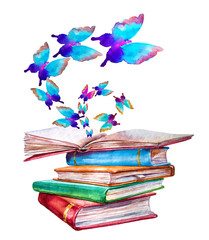 Open book with butterflies flying from it. Pile of books
