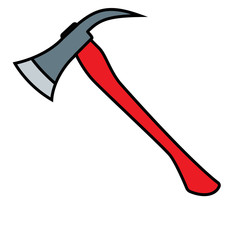 Firefighters Axe with red handle. vector illustration