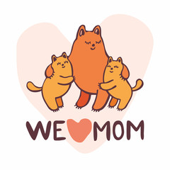 Mother's day greeting card in cartoon style with the image of cute cats.