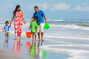 Mother Father Parents Boy Children Family Beach Fun