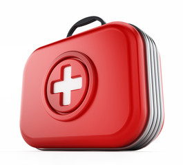 First aid kit isolated on white background. 3D illustration
