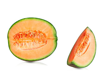 Melon cuts on white background.