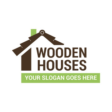 Vector logo template for building company. Illustration of a wooden roof in brown color. Architecture icon. EPS10.