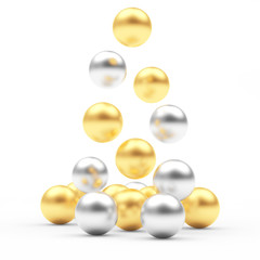 Pile of falling golden and silver spheres isolated on white. 3D illustration