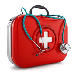Stethoscope standing on first aid kit. 3D illustration