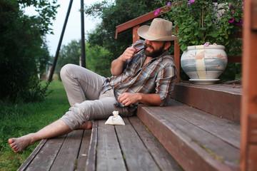 man smoke pipe outdoor
